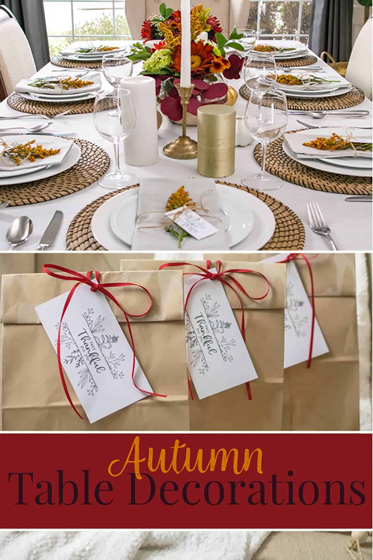 Thanksgiving table decorations and place card holders with post title