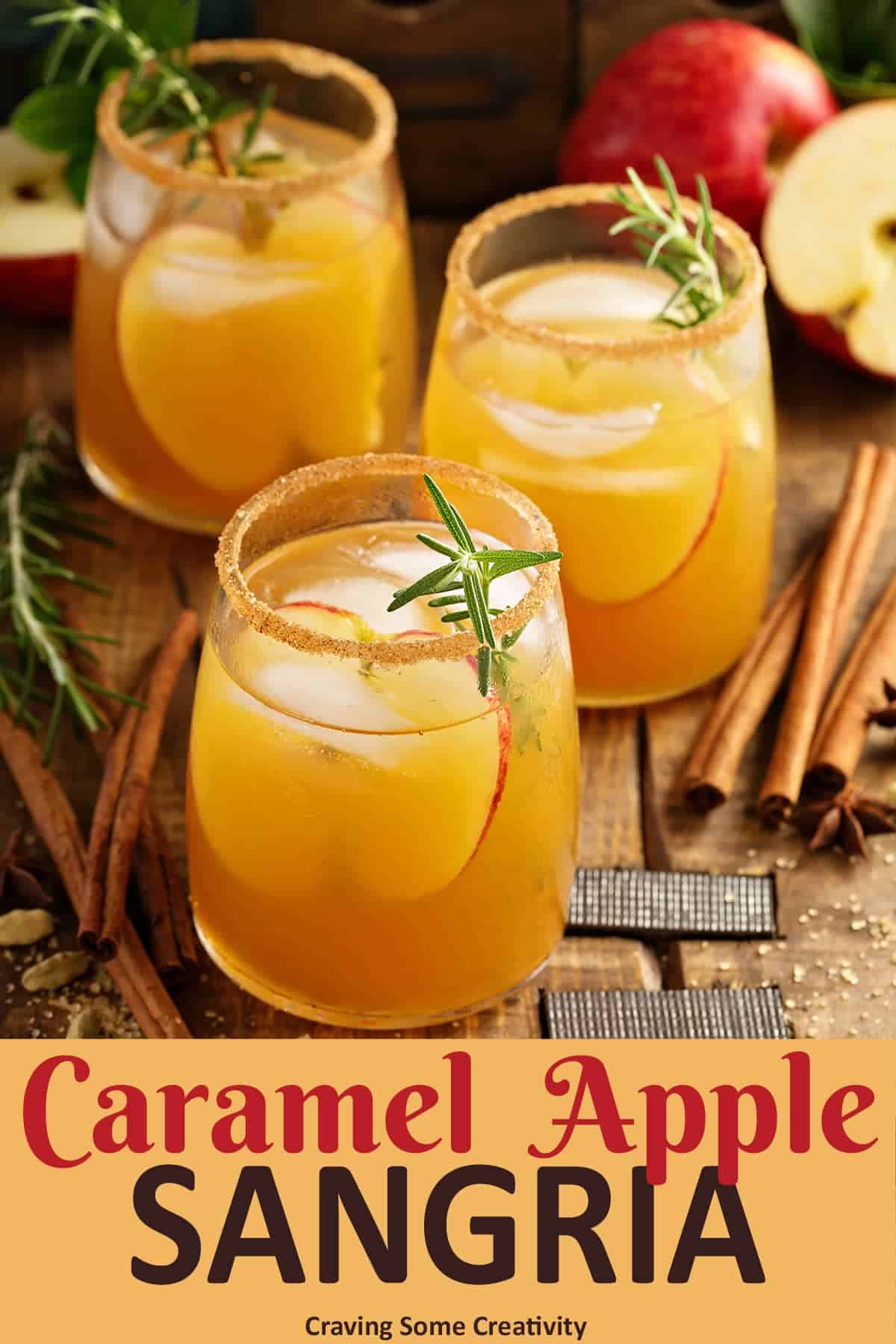 Glasses of Carmel Apple Sangria for Fall Cocktail garnished with Rosemary