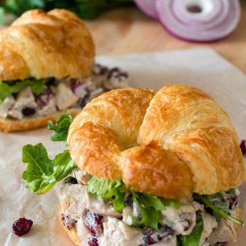 Fresh chicken salad recipe on croissant rolls.