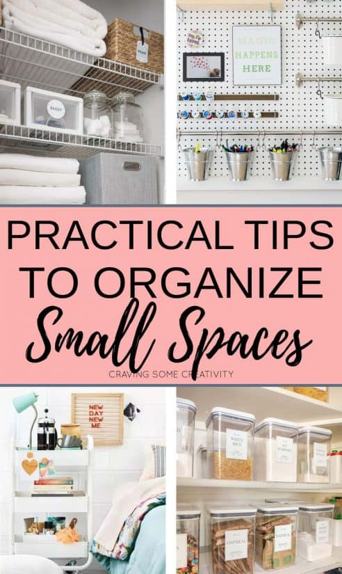 Small space organization collage showing a linen closet, office, small bedroom, and pantry storage ideas.