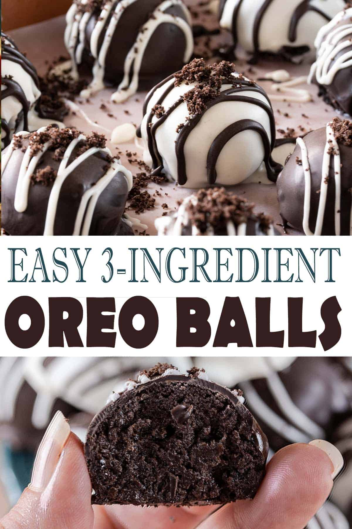 Easy Oreo Balls Recipe on a cookie sheet with chocolate decorations