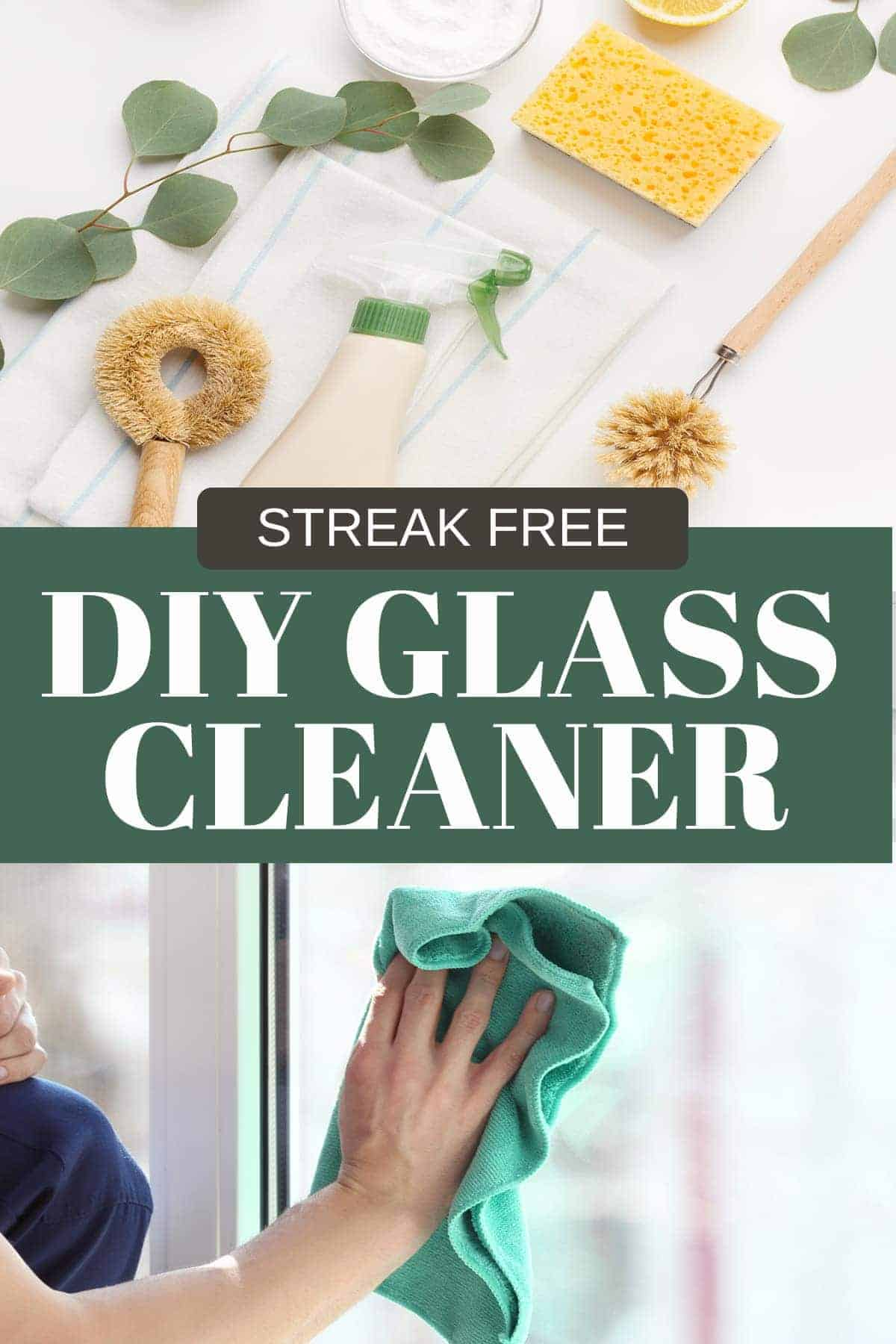 Collage of Cleaning products in use for diy glass cleaner.