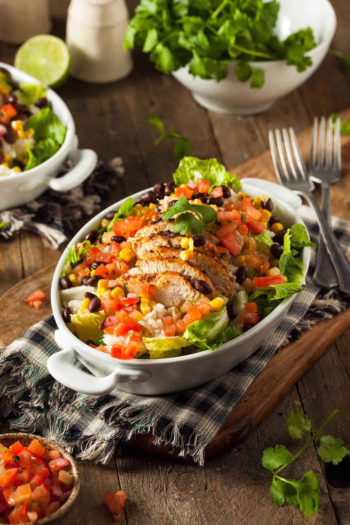 Chicken burrito bowl with ingredients and topping ideas.