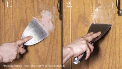 Steps to using wood filler on oak wood.