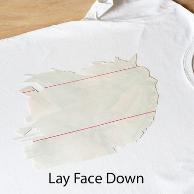 Cut out image laying face down on t-shirt.