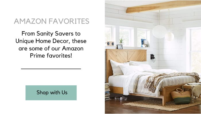 Styled Bedroom Collage with text overlay that reads Amazon Favorites, from sanity savers to unique home decor, these are some of our Amazon Prime Favorites.
