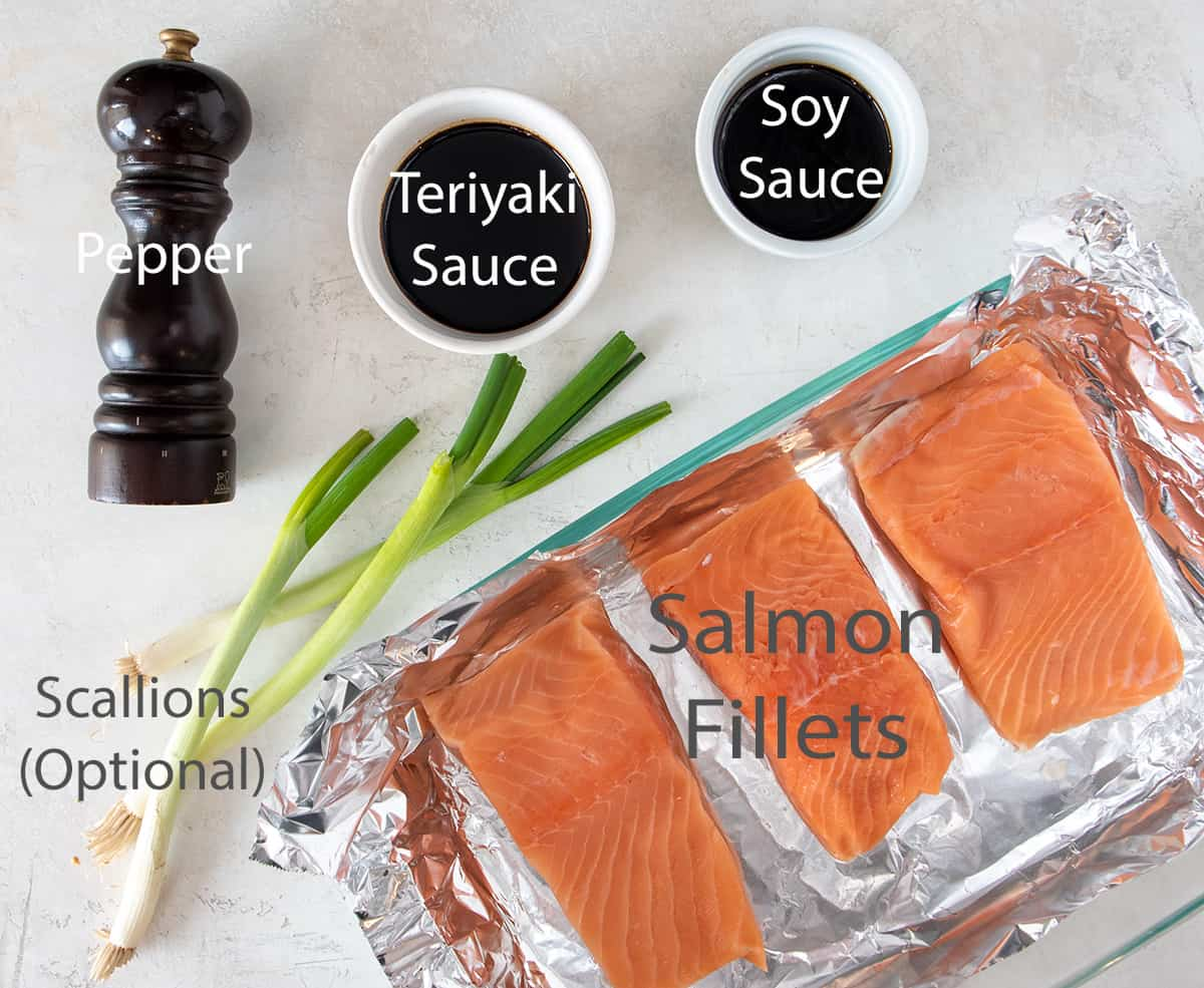 Teriyaki Salmon Ingredients with text labels.