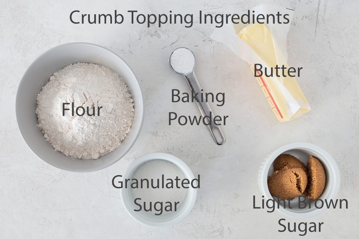 Ingredients for crumb topping with text labels.