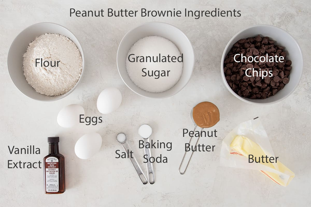 Ingredients for peanut butter brownies with text labels.