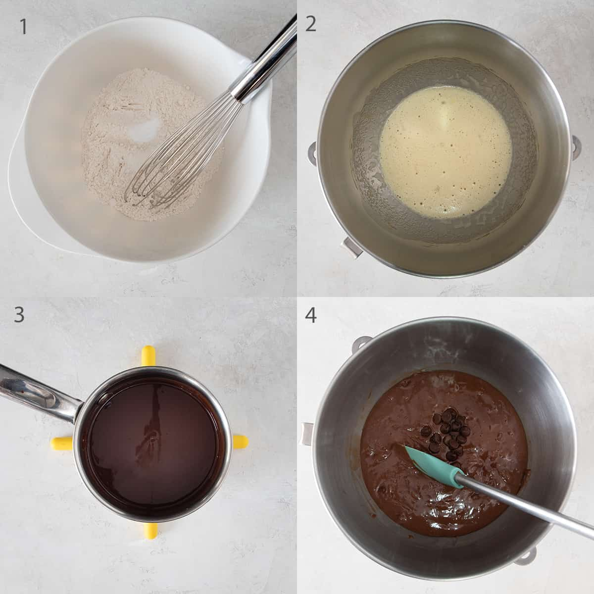 Collage showing assembly of the batter for peanut butter brownies.