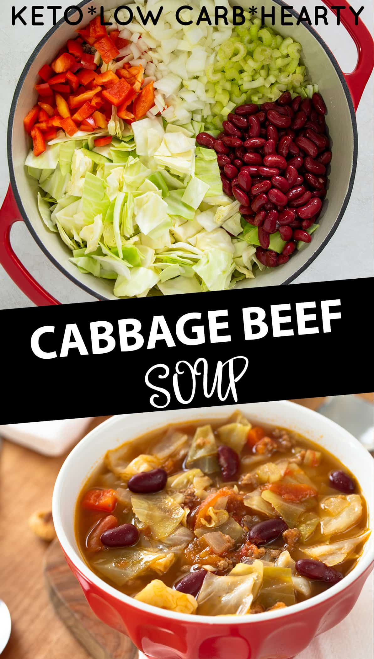 Collage of Cabbage Soup with Text Label. Bowl of ingredients on top with finished cabbage beef soup on bottom.