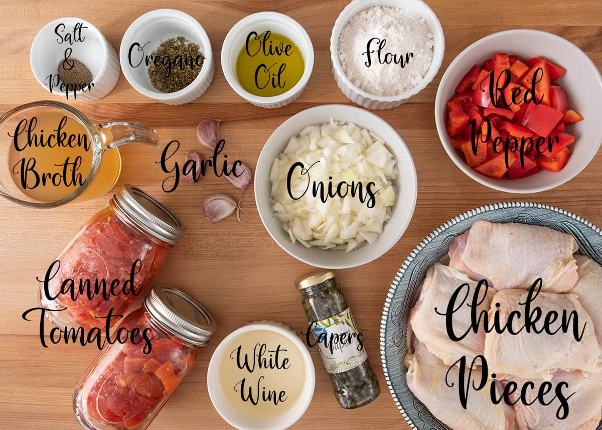 Ingredients for Chicken Cattiatore with text labels.
