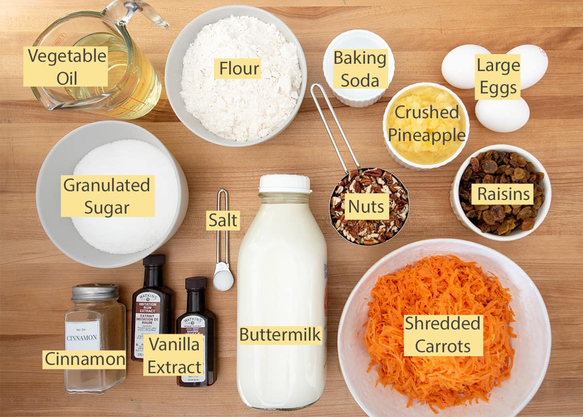 Carrot Cake Ingredients with text labels.