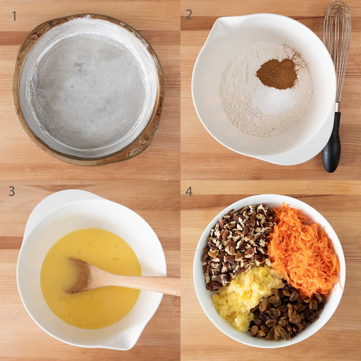 Step by step instructions including flouring a pan and mixing ingredients.