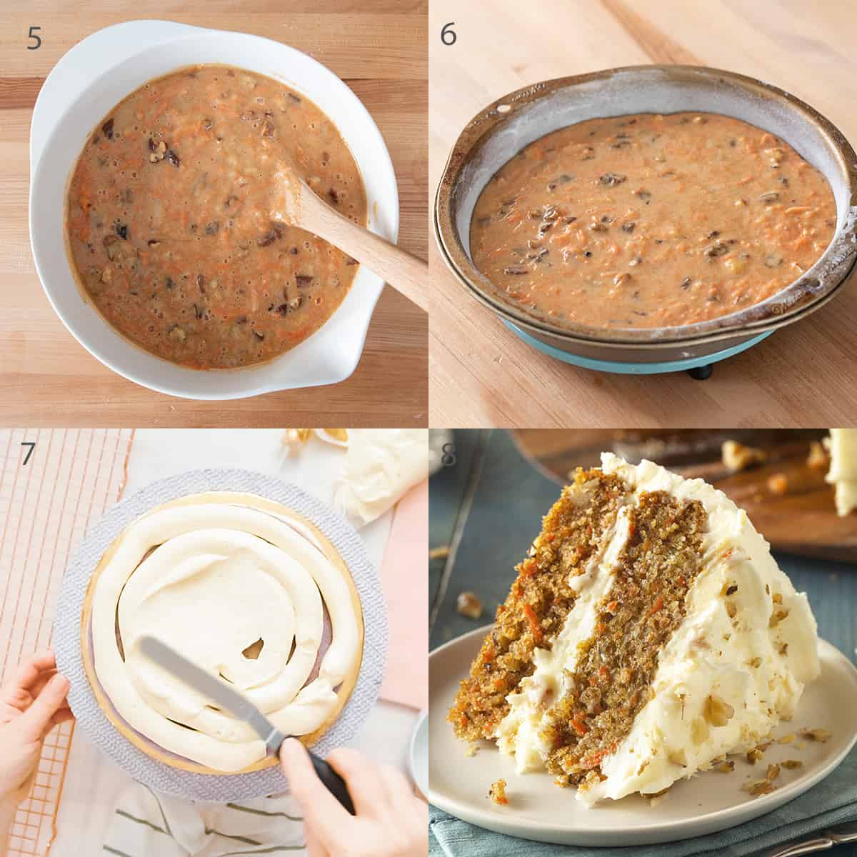 Carrot cake recipe step by step instructions.