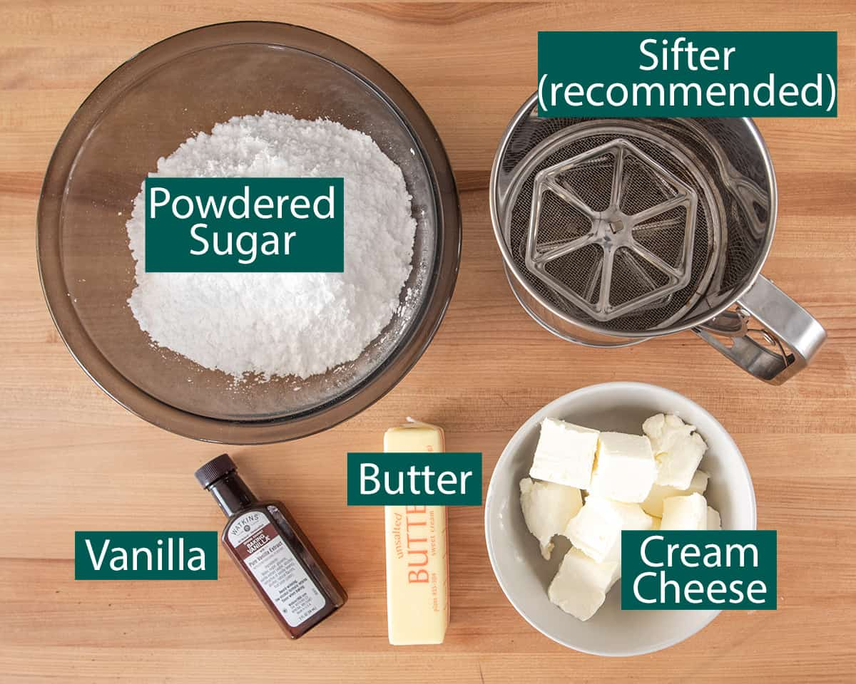 Cream Cheese Frosting ingredients with text labels.