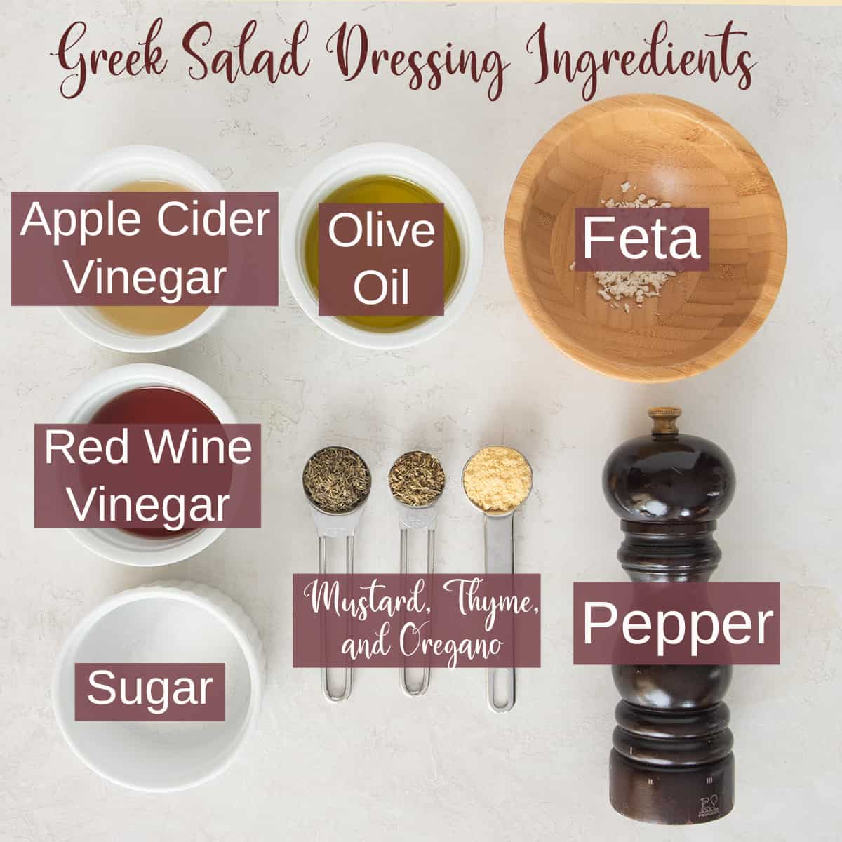 Greek dressing recipe ingredients with text labels.