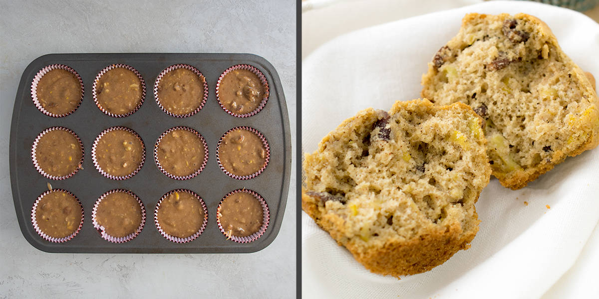 Collage of photos showing how much to fill muffin pan and the muffin texture after baking.