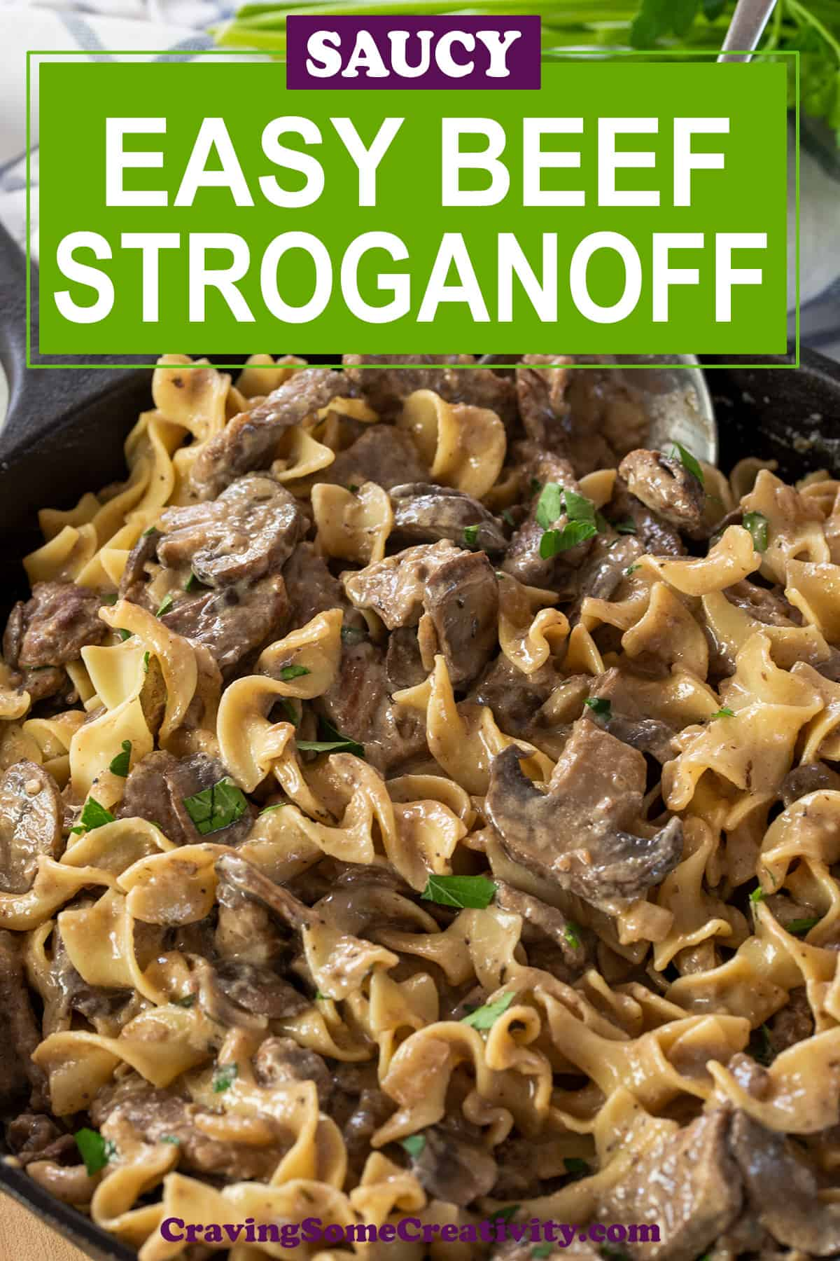 Beef Stroganoff in a cast iron pan with title label.