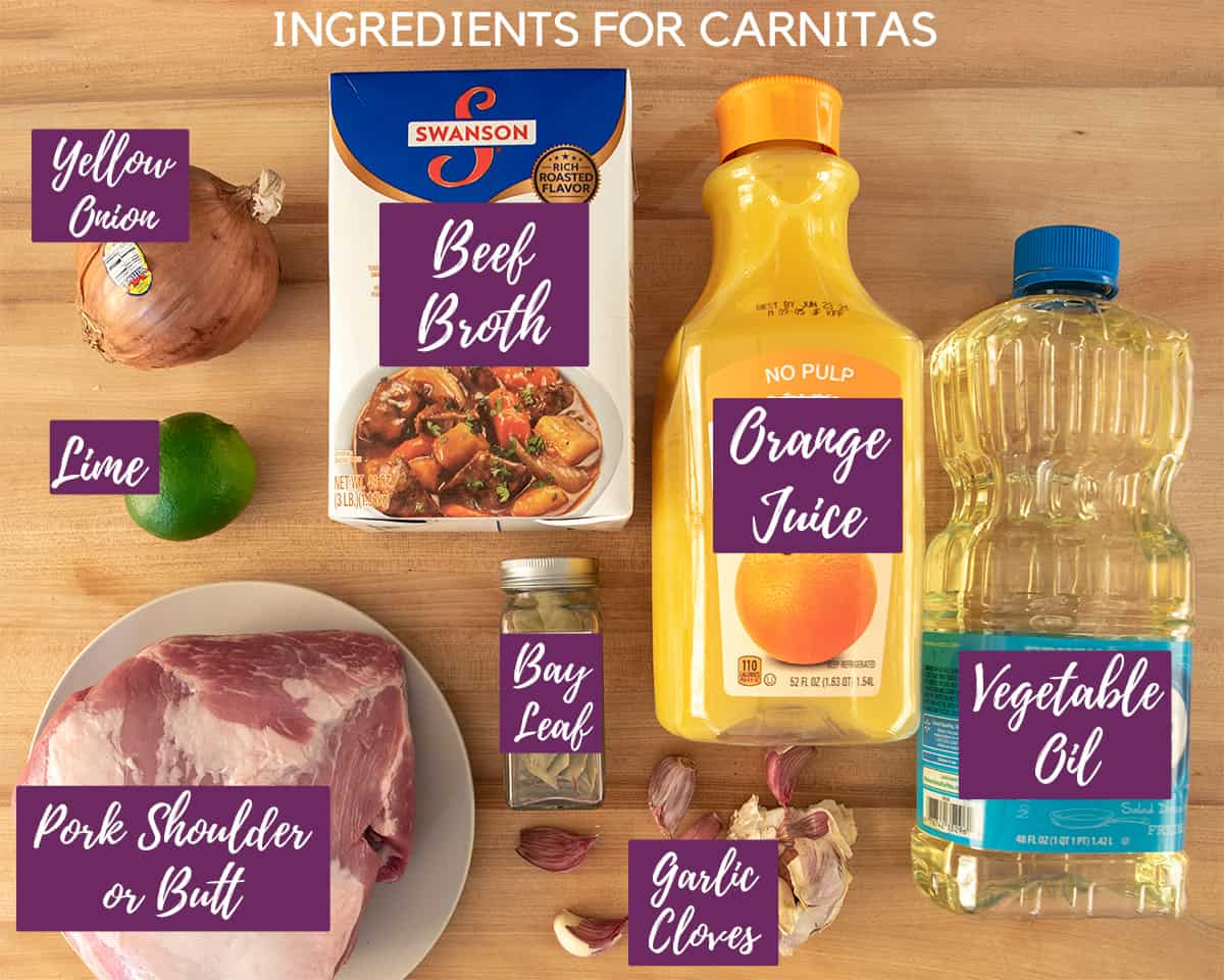 Pork Carnitas ingredients with text labels.