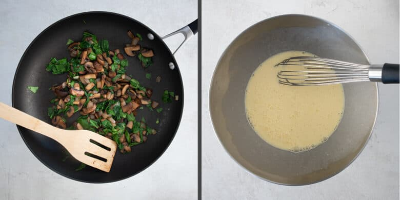 Collage of steps to make quiche including pre-cooking vegetables and whisking the egg custard.