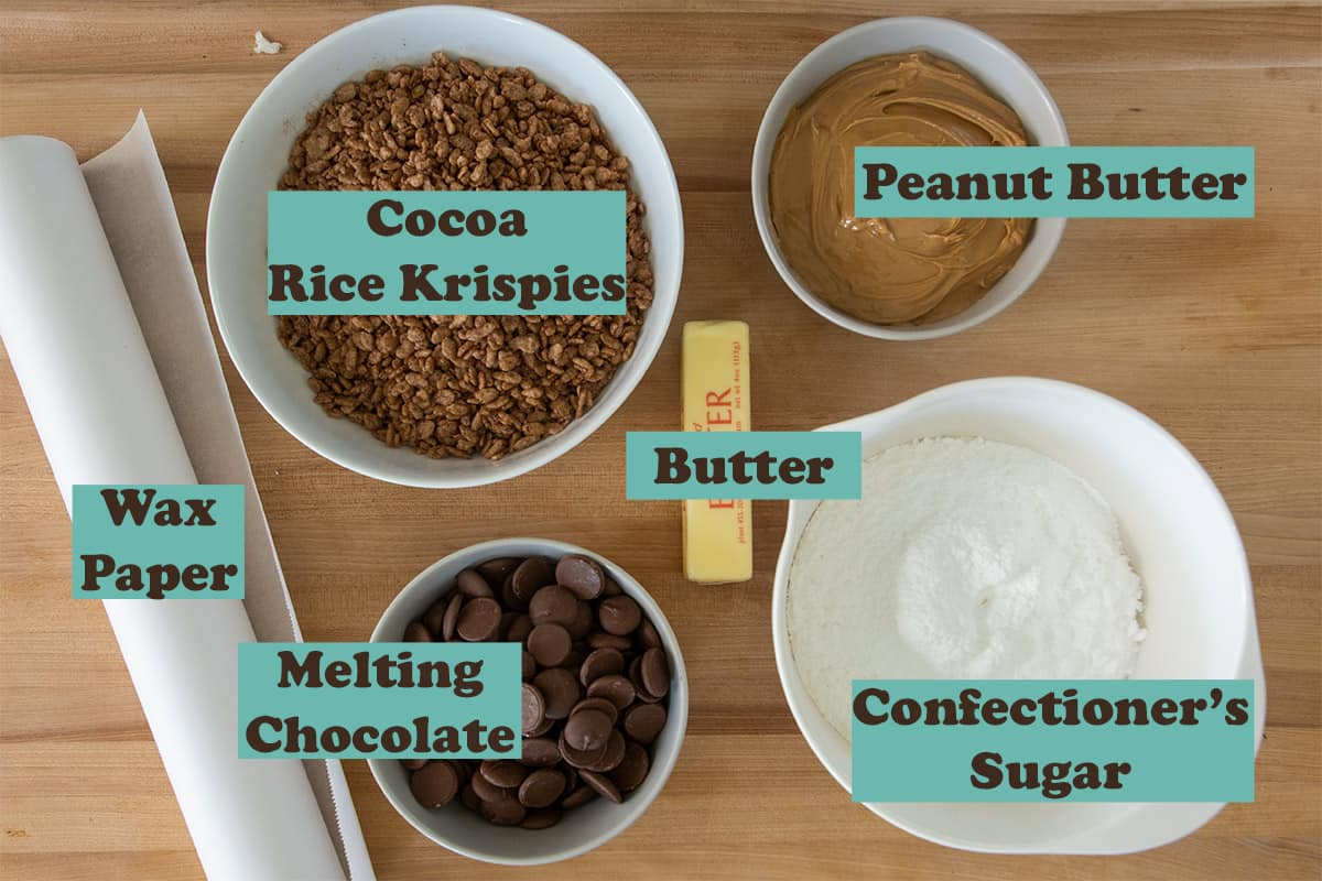 Ingredients for Peanut Butter Balls with text labels.