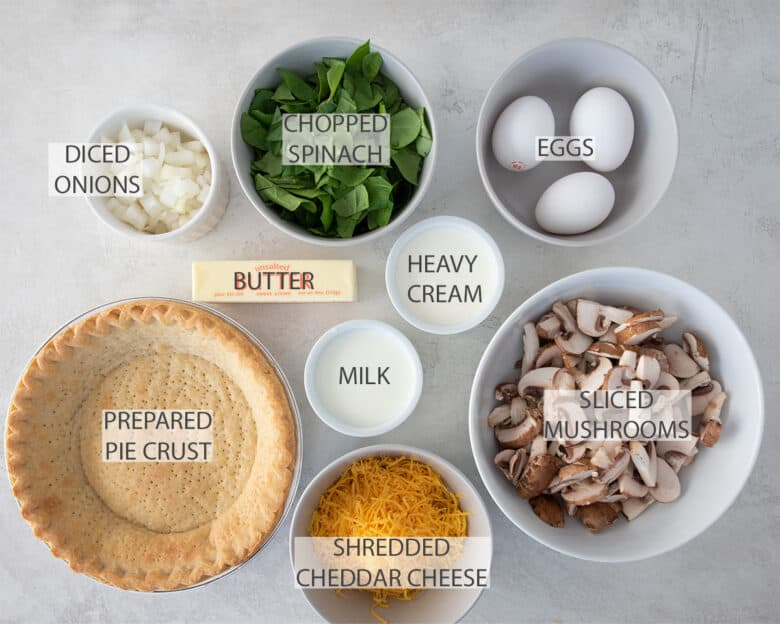 Layout of quiche recipe ingredients with text labels.