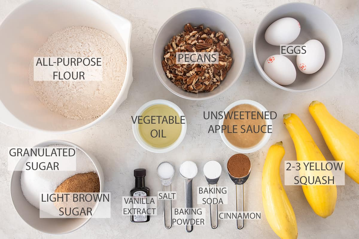 Ingredients for yellow squash muffins with text labels.