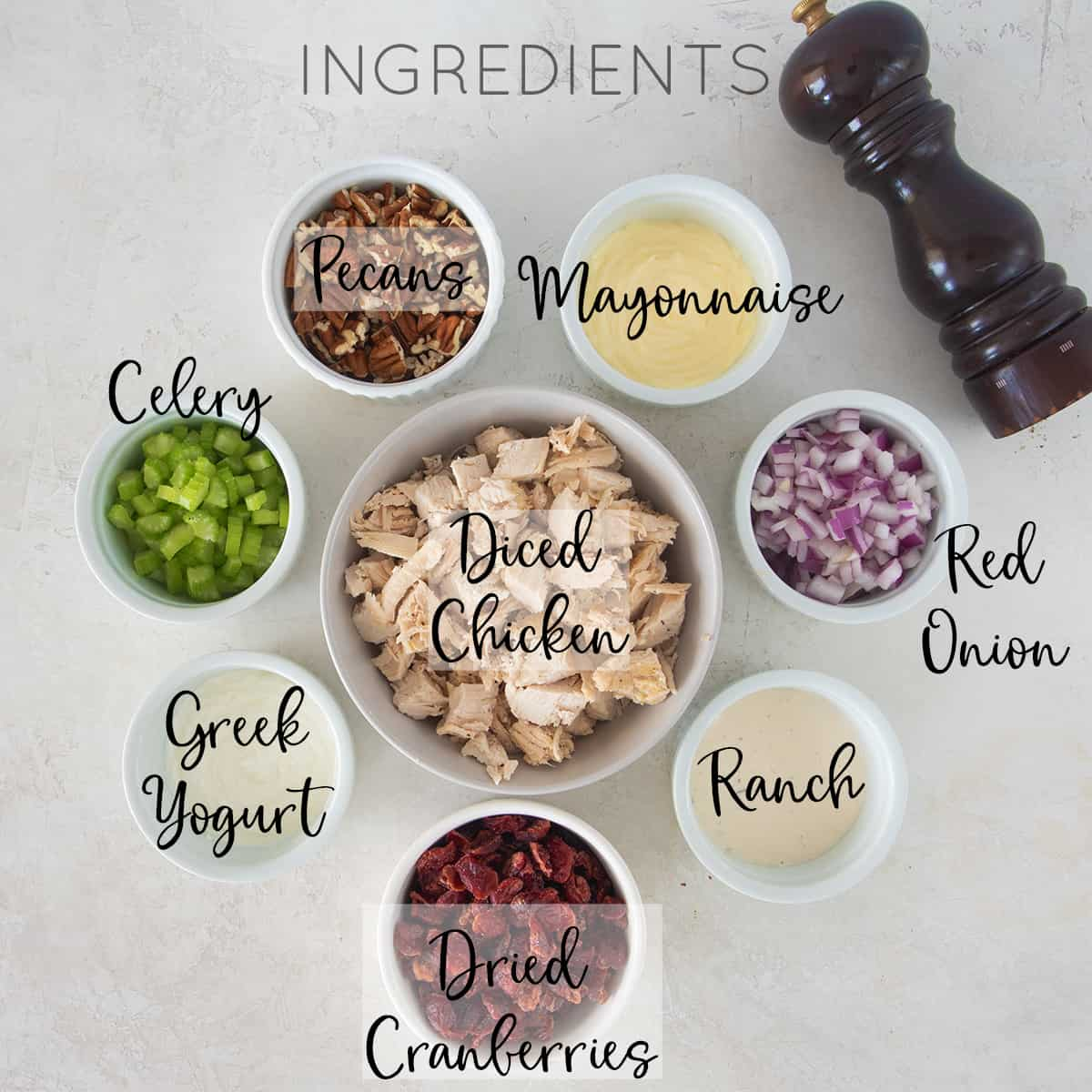 Ingredients for chicken salad with text labels.