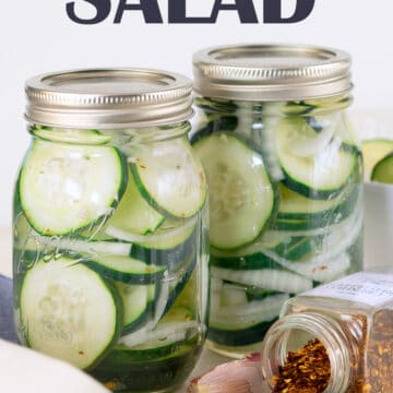 Cucumber salad in canning jars.