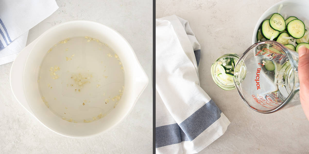Step By Step instructions for making cucumber salad including prepping the dressing and pouring over cucumbers