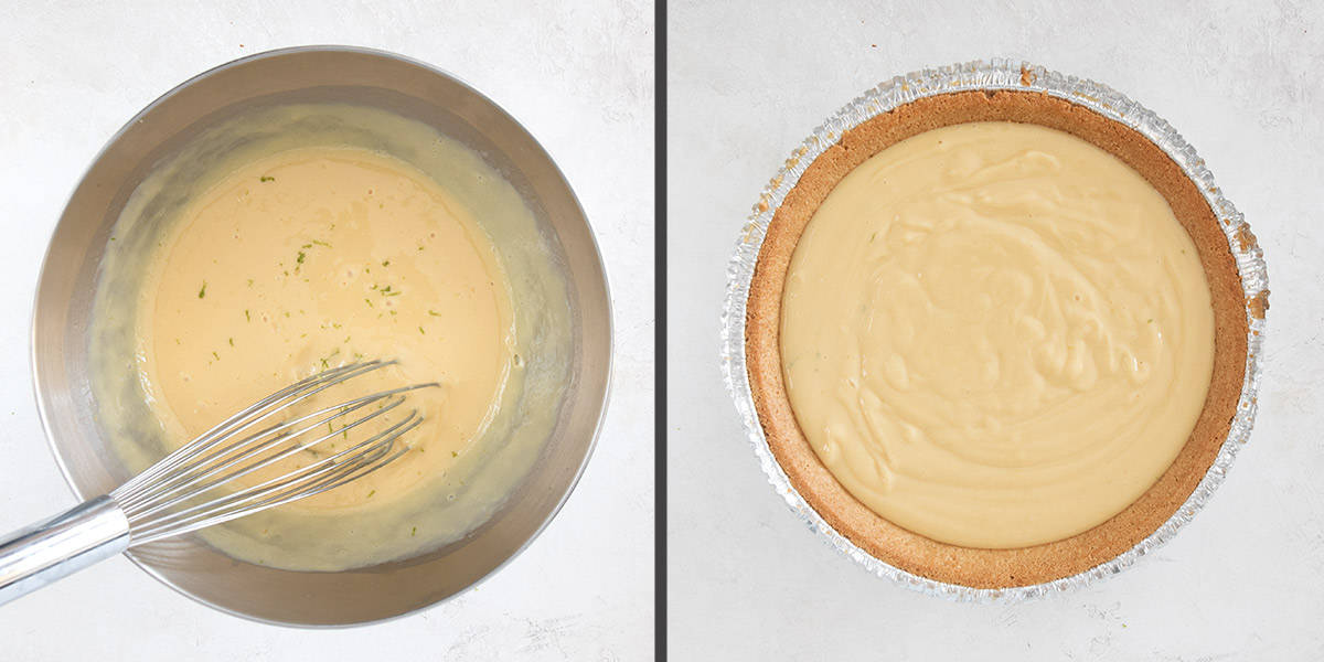 Collage of two steps for making pie filling recipe.