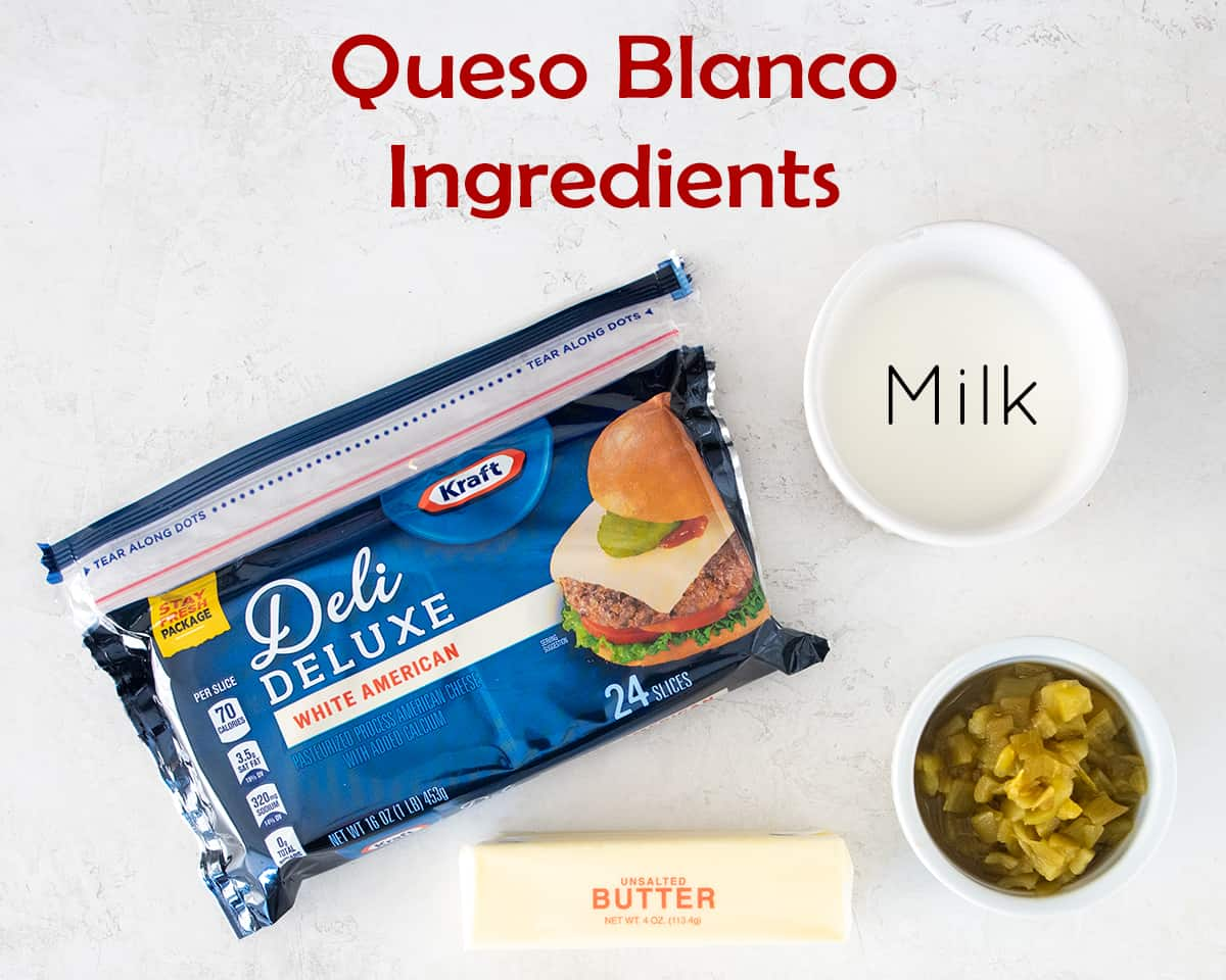 Mexican Cheese Dip ingredients with text labels