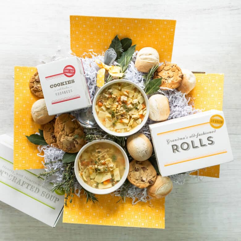 Soup, Cookies, and Rolls in a get well package