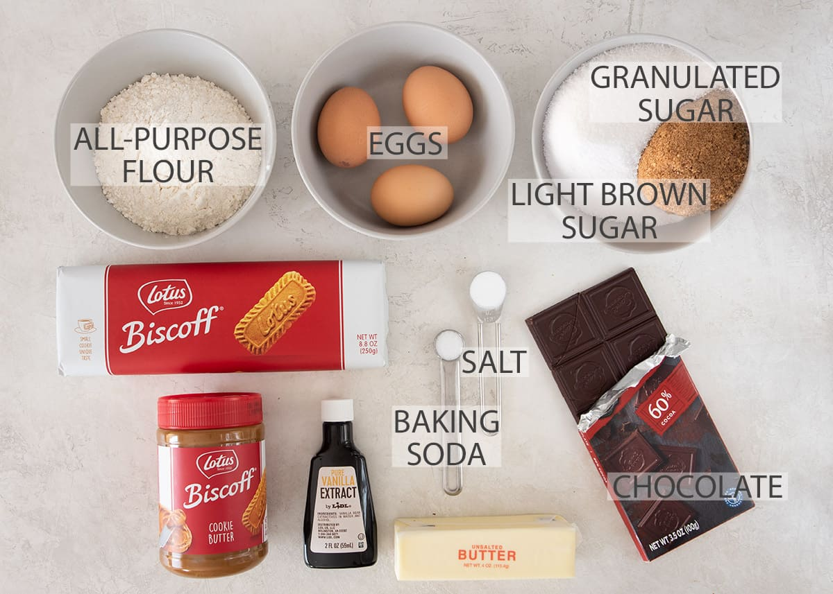 Biscoff Brownie recipe ingredients with text labels.
