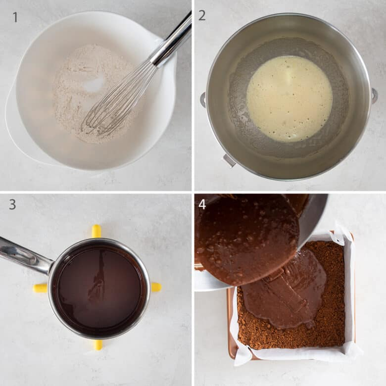 Collage of steps to make a brownie batter including making the dry ingredients, egg mixture, and melting the chocolate.