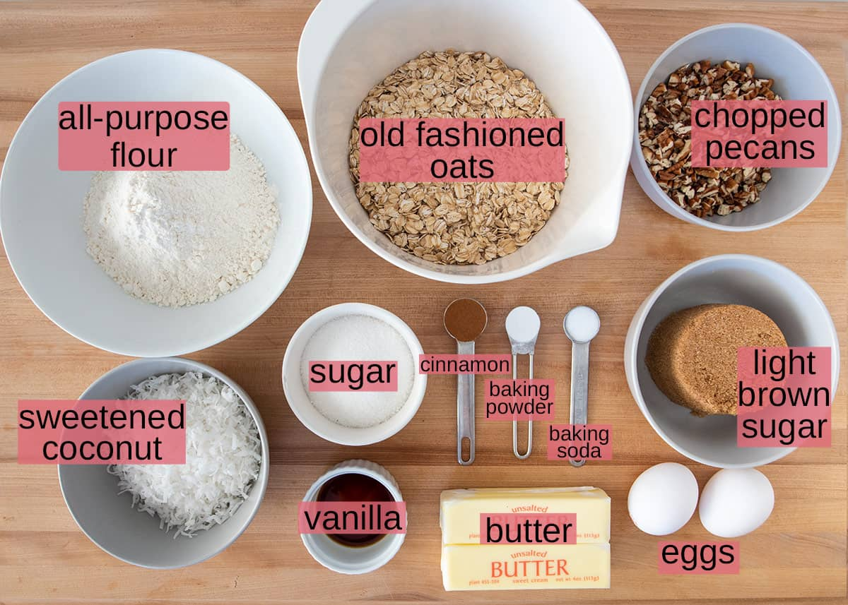 Ingredients to make coconut pecan cookies with text labels.