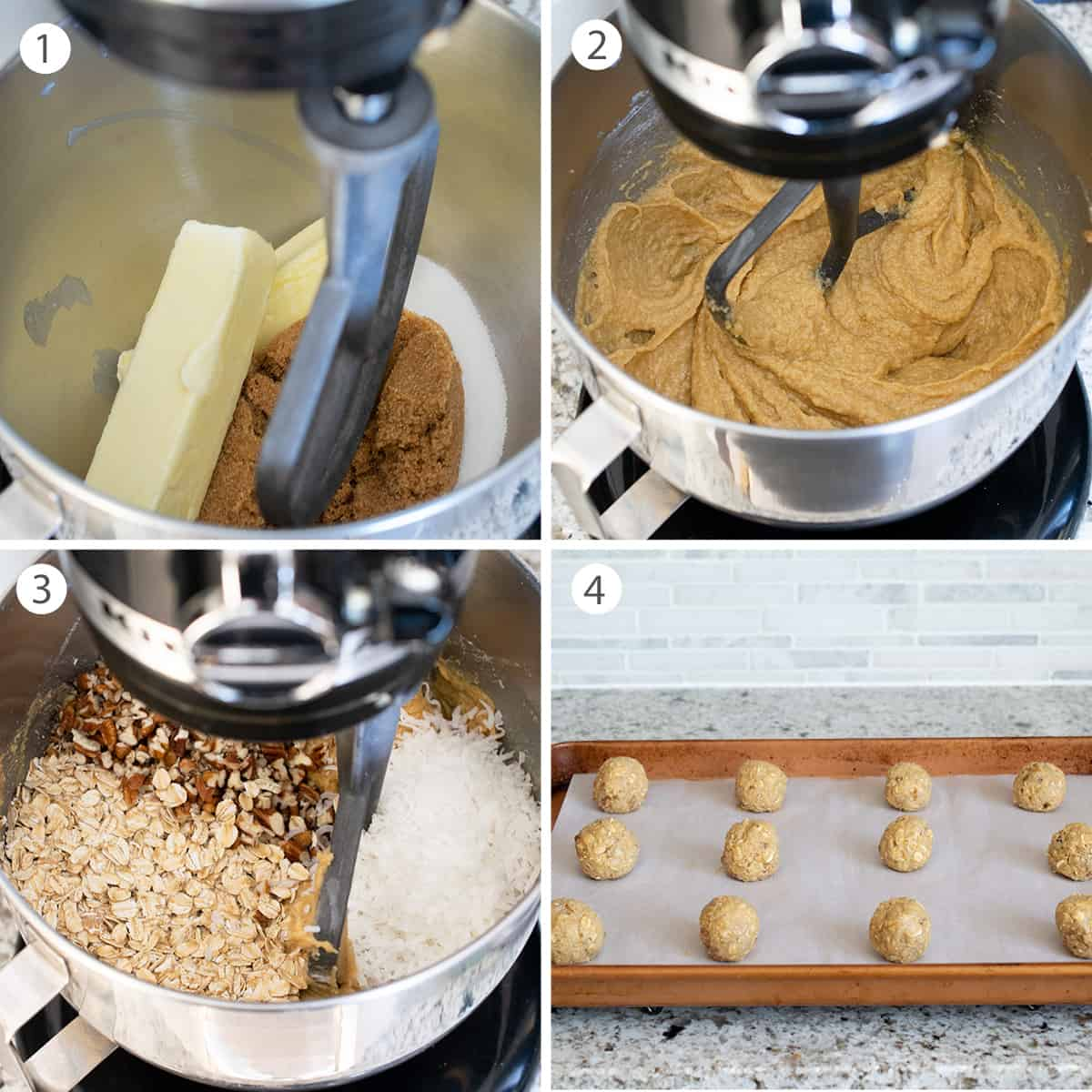 Baking steps for making cookies including how to shape the cookie balls.
