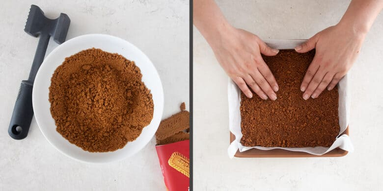 Steps to how to make a cookie crust and press it into the baking pan.