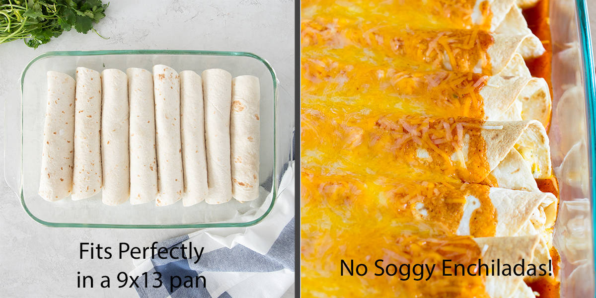 Enchiladas rolled in a pan before and after baking to show crispiness of flour tortillas.