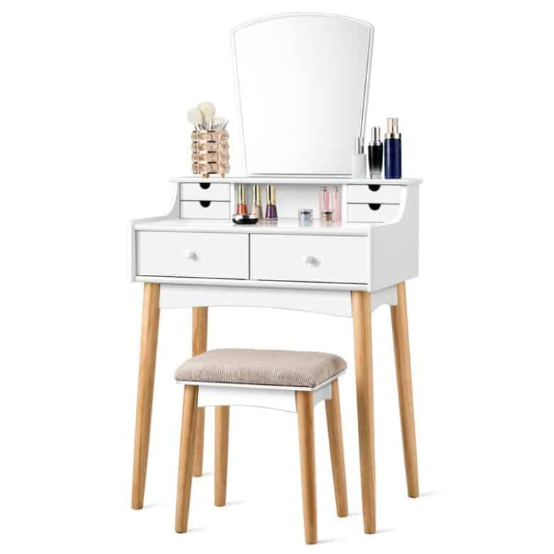 White narrow vanity stand with stool.