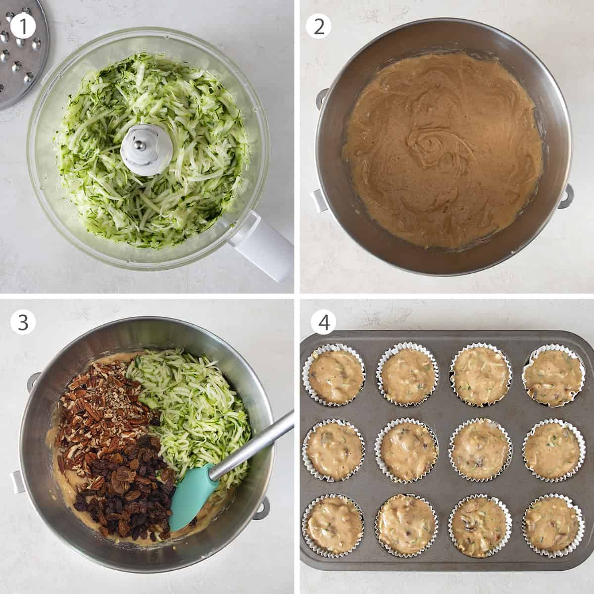 Collage of instructions to make zucchini bread muffins including shredding the zucchini, preparing the batter, and filling the pan.