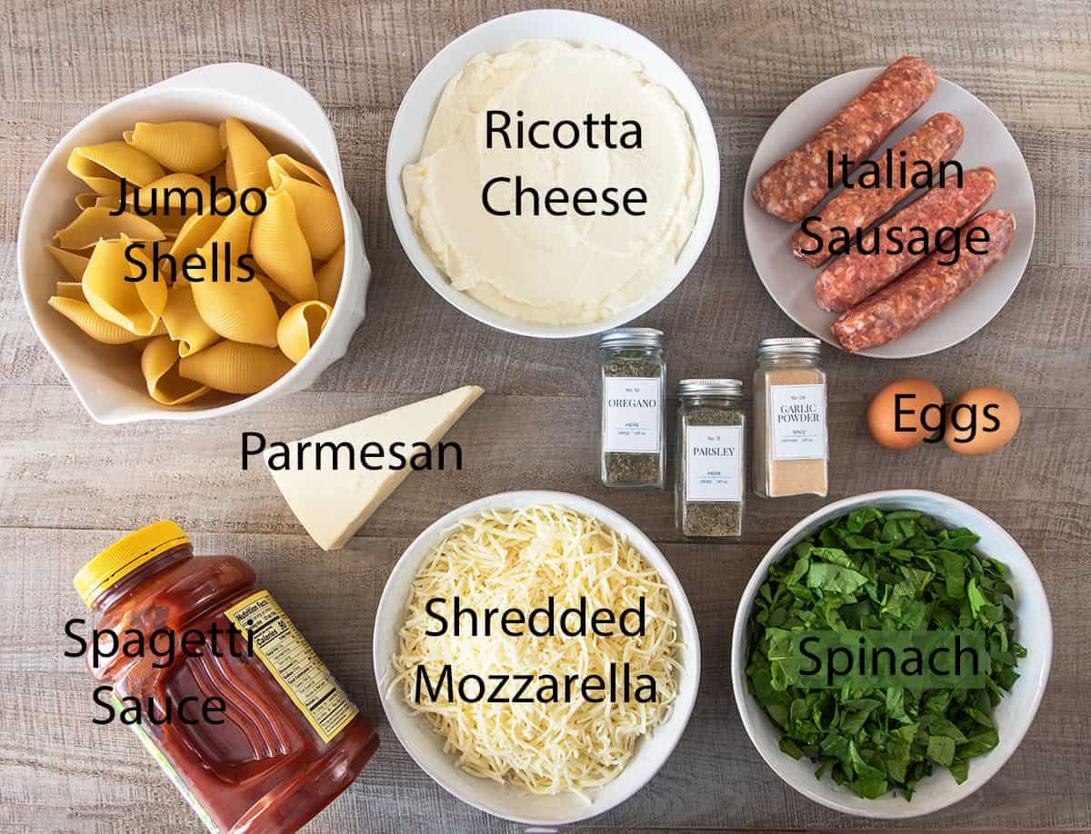 Ingredients for Classic Stuffed Shells with text labels.