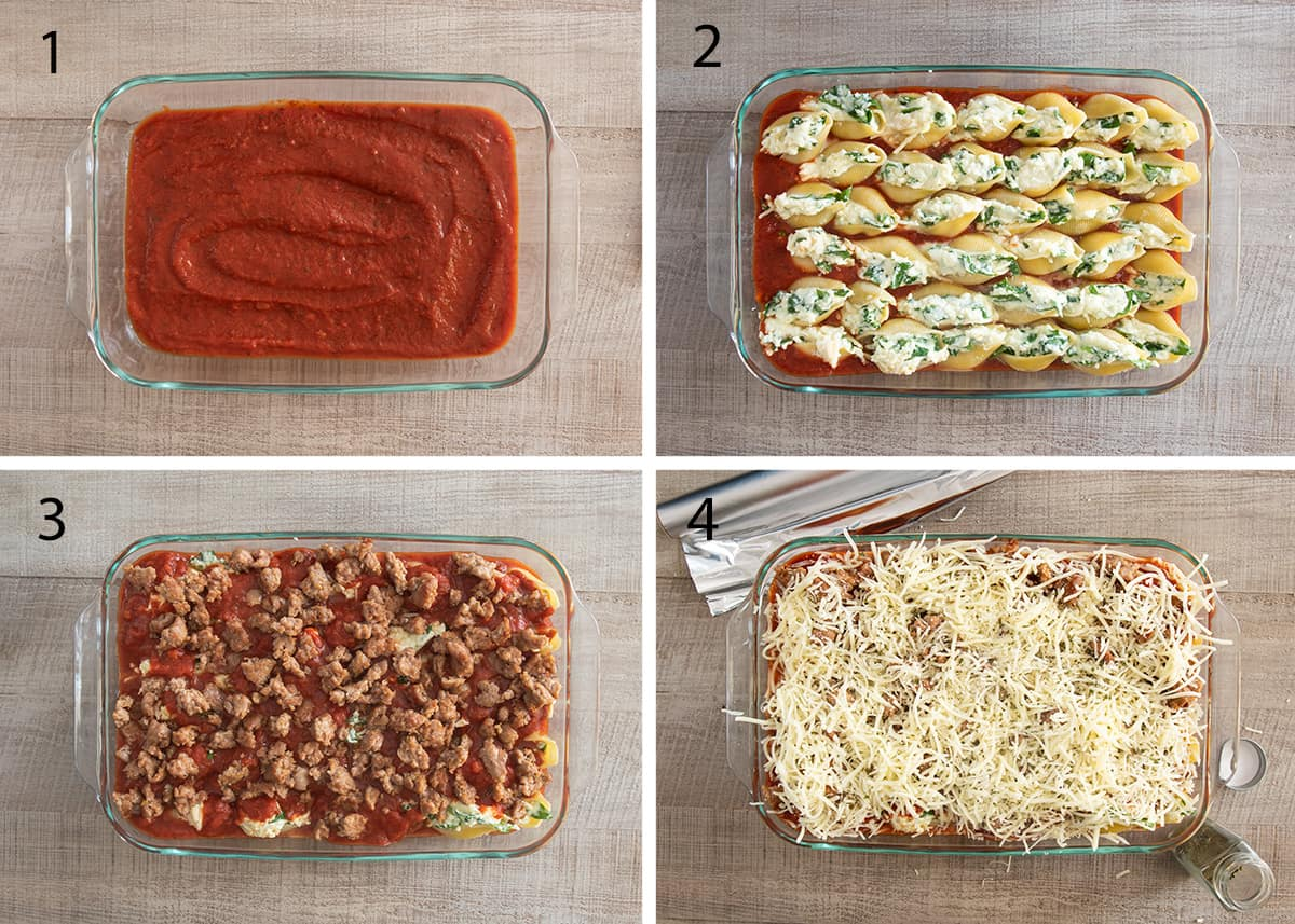 Collage of steps to layer stuffed shells recipe including the marinara, filling the shells, and topping with sausage and cheeses.