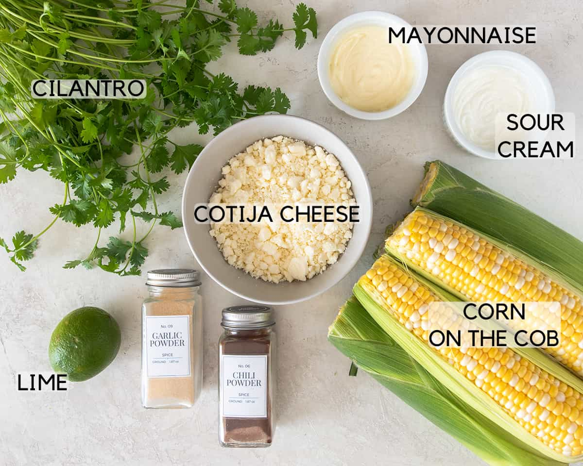 Ingredients to make Elotes with text labels.