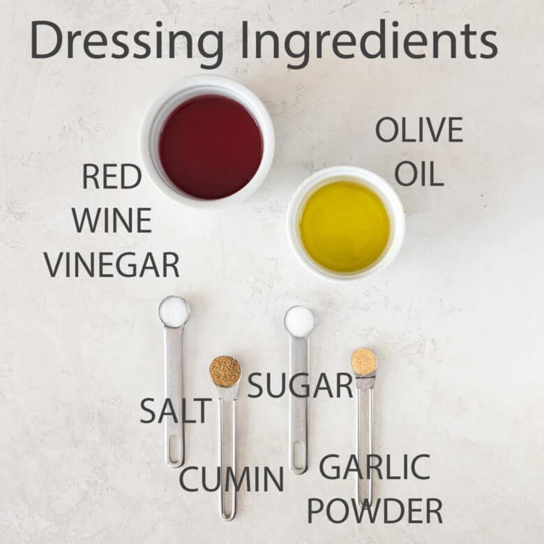 Red Wine Vinegar Salad dressing ingredients with text labels.