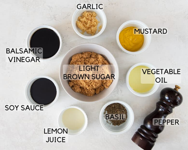 Ingredients for chicken thigh marinade with text labels.