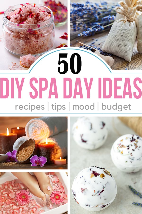 Collage of spa day ideas including a foot bath, rose salt scrub, lavender sachets, and bath bombs.