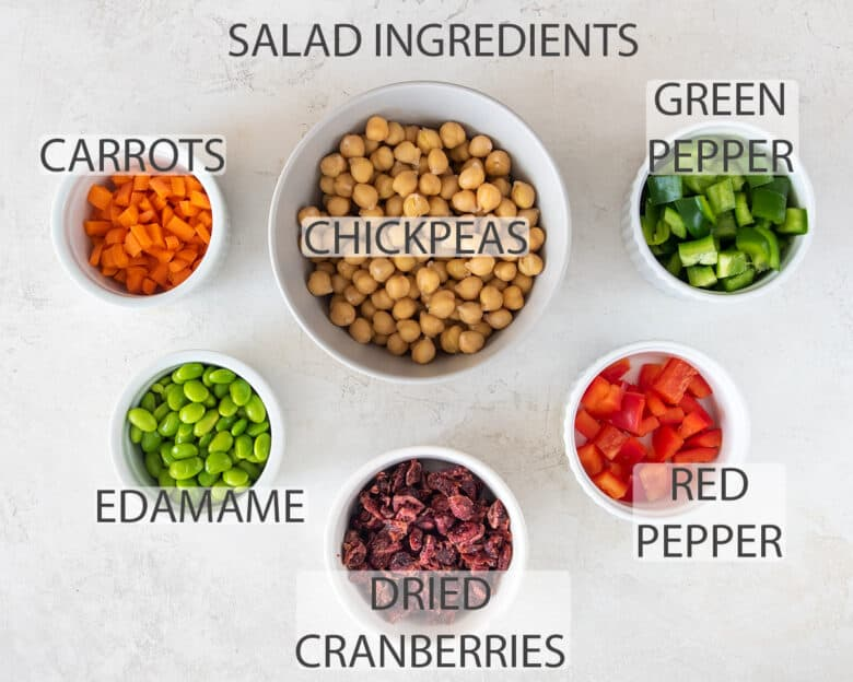 Chickpea salad ingredients with text labels.