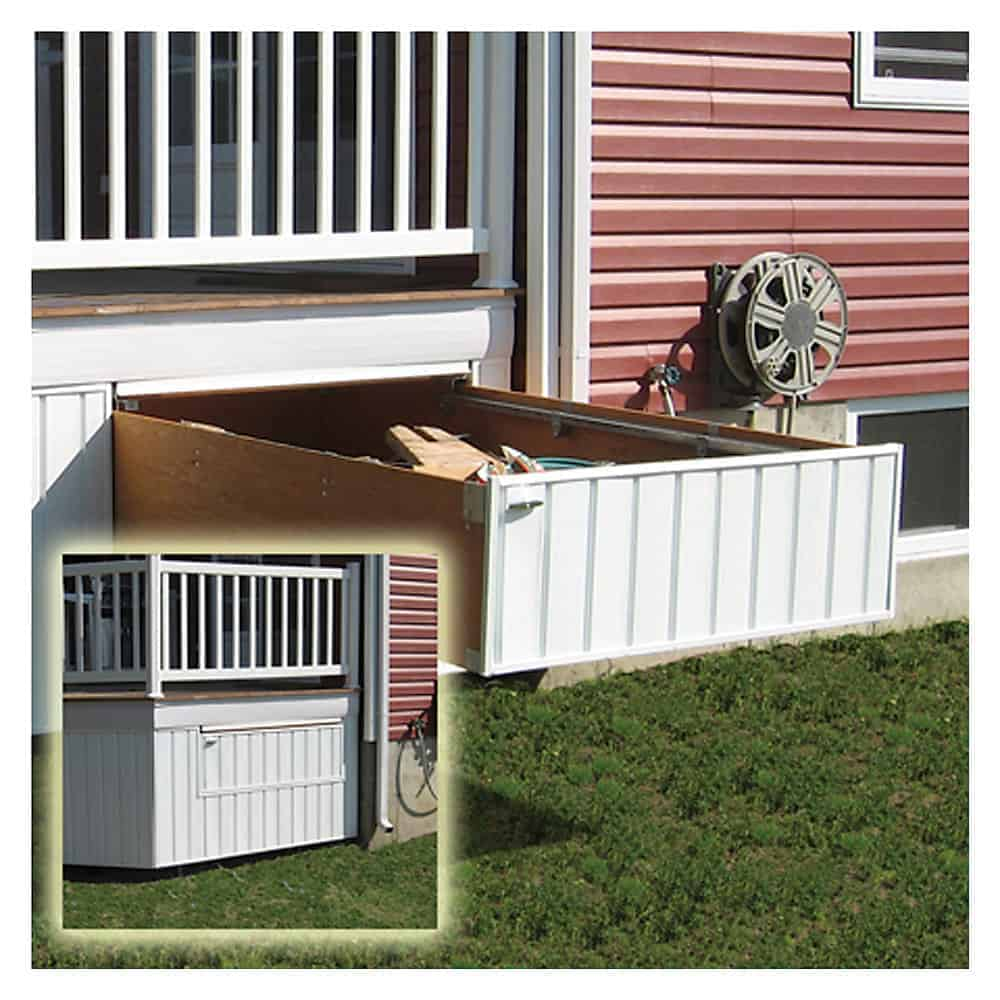 Pull out drawers on the side of a raised deck.